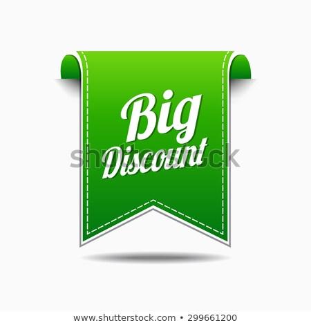 ストックフォト: ビッグ · 割引 · 緑 · ベクトル · アイコン · デザイン