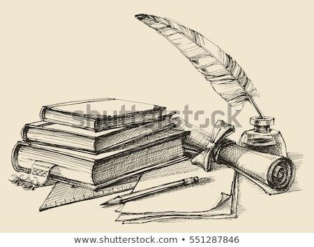 Starej książki pióro nauki świecie biały tle Zdjęcia stock © cosma