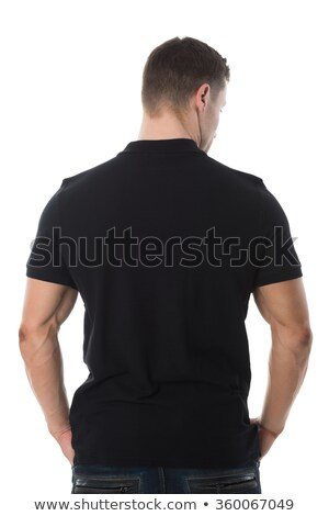 Stockfoto: Man In Black Tshirt Standing Against White Background
