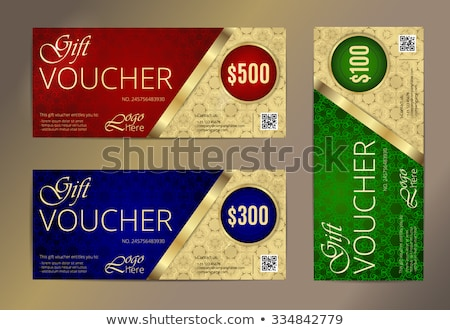 red and blue voucher with gold ornamental pattern stock photo © liliwhite