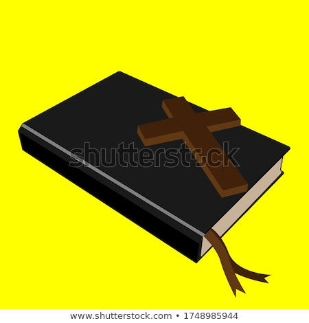 Stock foto: 3D · heilig · Bibel · Kreuz · Buch · Leder