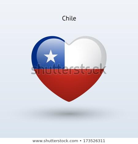 bayrak · Şili · kalp · şekli · örnek · dizayn · arka · plan - stok fotoğraf © netkov1