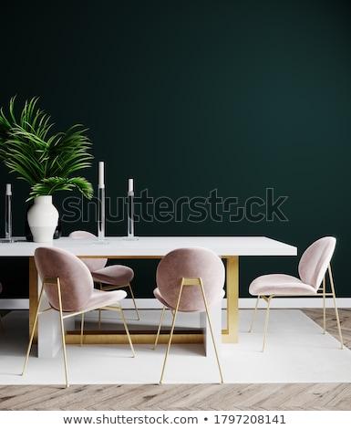 Innenraum Szene antiken Möbel Sessel Leuchter Stock foto © ElaK