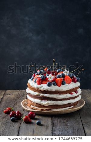 Heerlijk biscuit cake slagroom gelei framboos Stockfoto © IngridsI