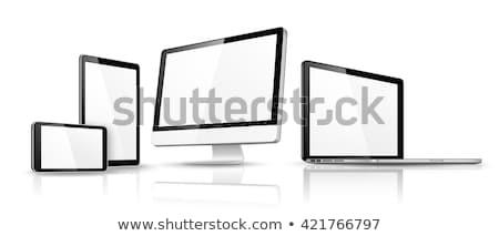 Foto stock: Moderna · dispositivo · aislado · vector · plantilla · blanco