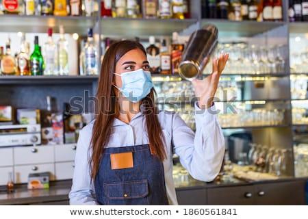 Сток-фото: женщину · коктейль · портрет · счастливым · Солнцезащитные · очки