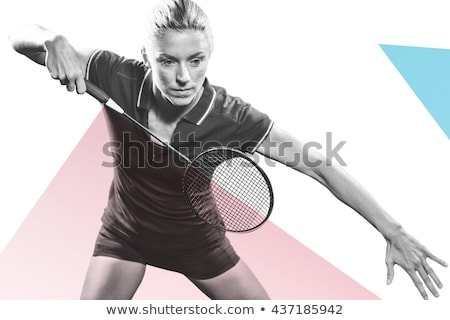 Composite image of badminton players playing badminton  Stock photo © wavebreak_media