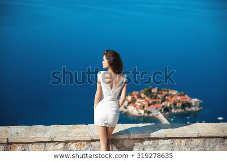 Stock photo: Beautiful brunette posing over beautiful romantic landscape