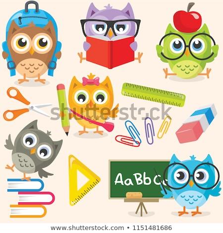 cartoon · uil · lezing · boek · illustratie · cute - stockfoto © orensila