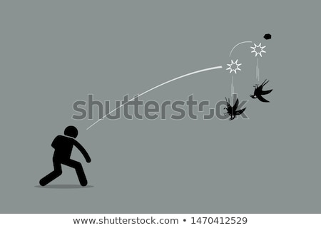 Birds hit by the stone Stock photo © bluering