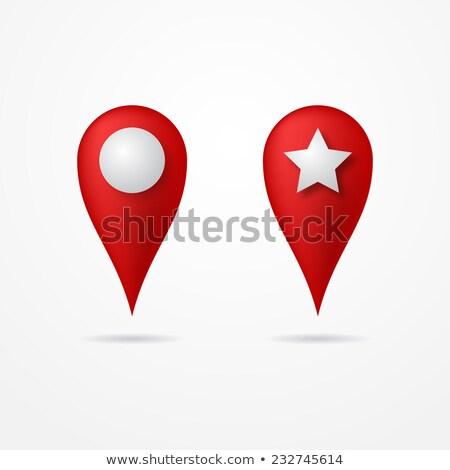 3D · kaart · vector · ingesteld · Rood · symbool - stockfoto © said