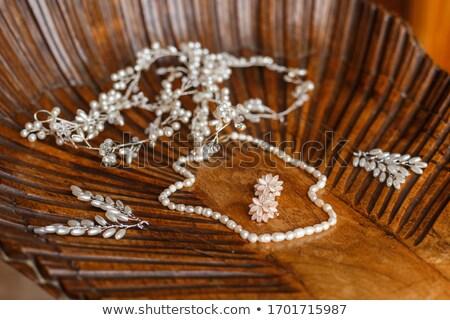 Szett gyönyörű természetes kő menyasszonyi kellékek Stock fotó © svetography