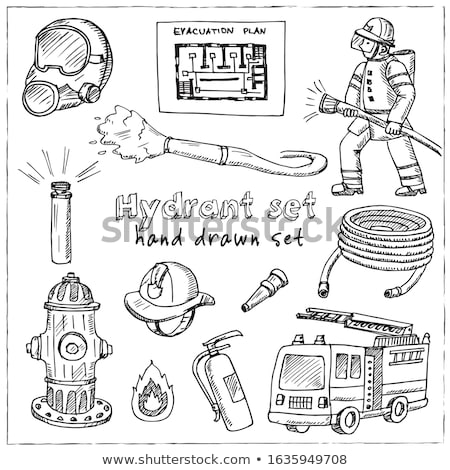 firefighter hose sketch icon stock photo © rastudio
