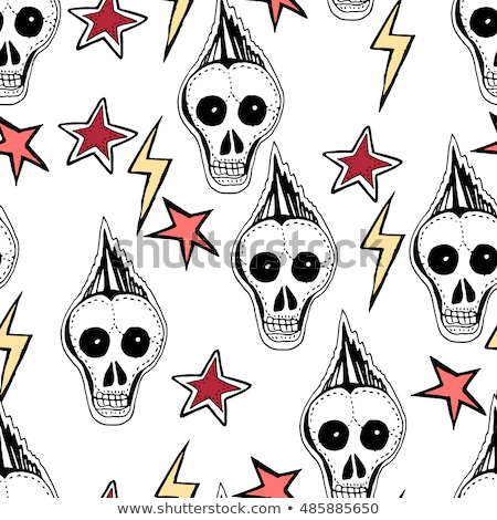 seamless background skulls starsarrows punks rock symbols stock photo © trishamcmillan