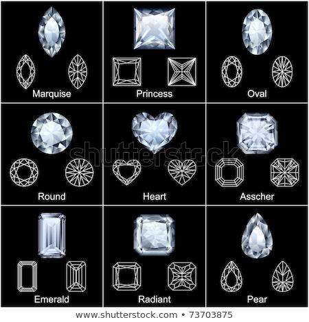 Jewelry heart. Gemstones  shaped. Colorful diamond. Vector illustration, clip art Stock photo © lucia_fox