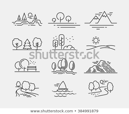 горные вектора иконки пейзаж силуэта Сток-фото © Andrei_