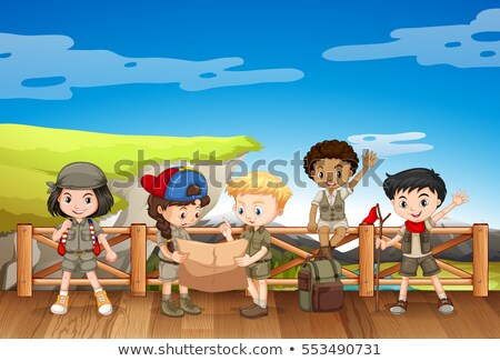 Enfants Safari lecture carte illustration enfant Photo stock © bluering