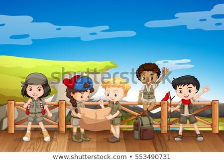 屋外 · 読む · 子供 · 実例 · 図書 · オープン - ストックフォト © bluering