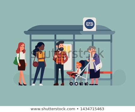 Pasajeros parada de autobús sesión espera transporte hombre Foto stock © jossdiim