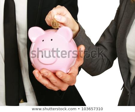 Piggy coin bank in hands of businesswoman Stock photo © stevanovicigor