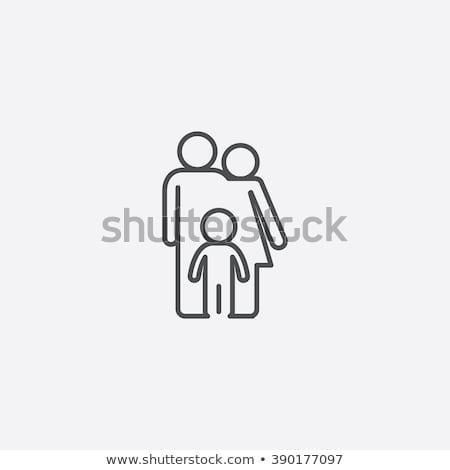 családi · otthon · sziluett · család · ikon · ház · üzlet - stock fotó © sdcrea