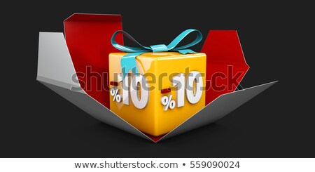 3d illustration red discount 10 percent off and in the gray box stock photo © tussik