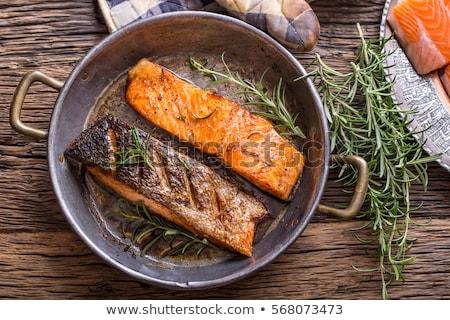 Grillezett lazac filé mártás vacsora étel Stock fotó © M-studio