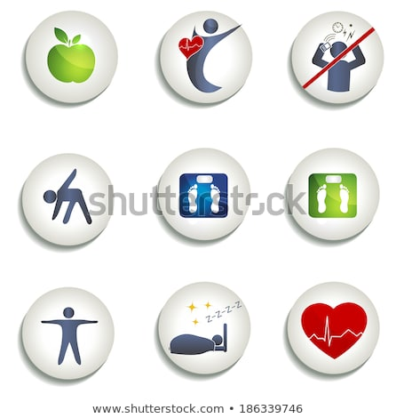 Normal weight, healthy eating and other icons  Stock photo © Tefi