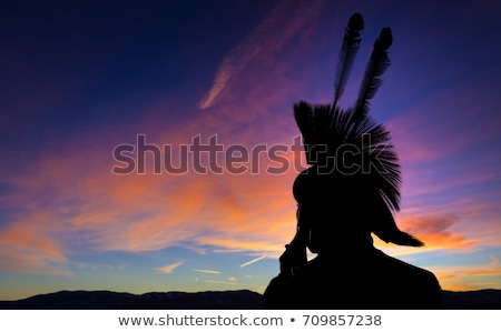 Native American Indian on horse at sunset Stock photo © adrenalina