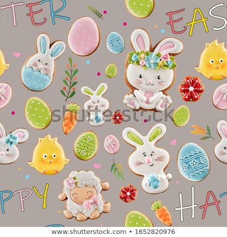 word easter and cookies decorated as easter egg and chick Stock photo © nito