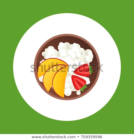 Cottage cheese in a plate flat style icon. Isolated on white background. Vector illustration. Stock photo © lucia_fox