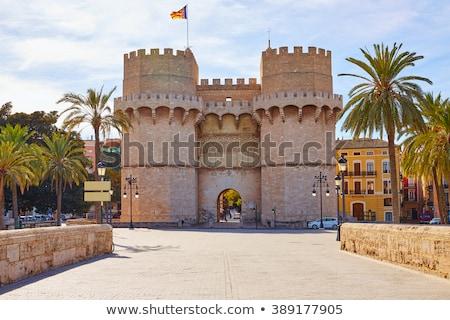 Serrano towers Valencia eski şehir kapı Stok fotoğraf © lunamarina