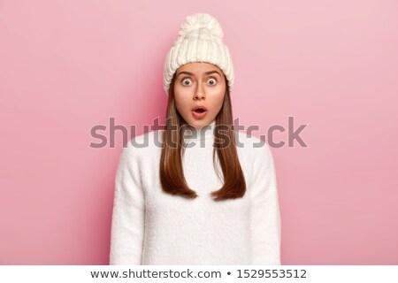 Hihetetlen hölgy áll pózol rózsaszín kép Stock fotó © deandrobot
