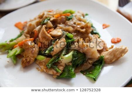 Hús kesudió keverés tészta marhahús brokkoli Stock fotó © Digifoodstock