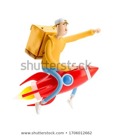 Fut futár vektor rajz fiatal barátságos Stock fotó © pcanzo