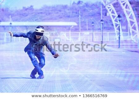 man · virtueel · realiteit · hoofdtelefoon · park - stockfoto © rastudio