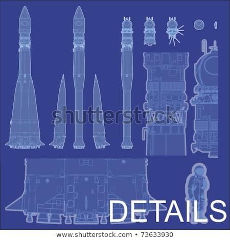 Vector Detailed Space Rocket With First Spaceship Stock fotó © Mechanik