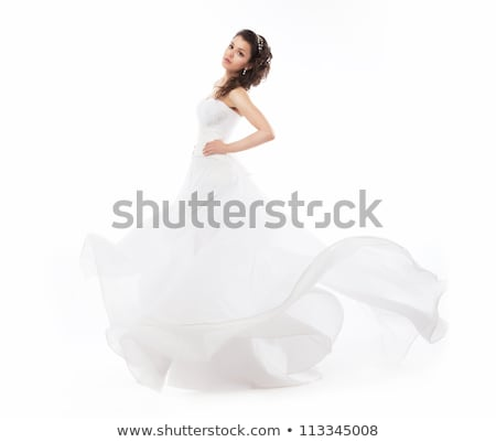 smiling woman in white dress with pearl jewelry Stock photo © dolgachov