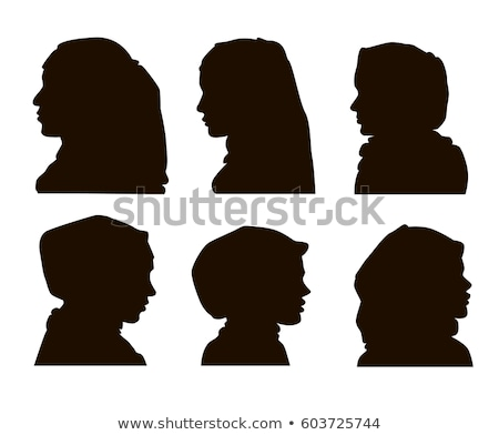 Beautiful muslim woman icons set female portrait in hijab vector Stock photo © NikoDzhi