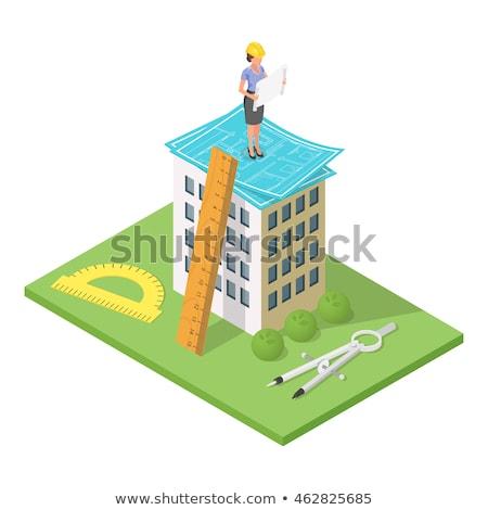 wektora · izometryczny · 3d · ilustracji · miasta · budynku · plan - zdjęcia stock © curiosity