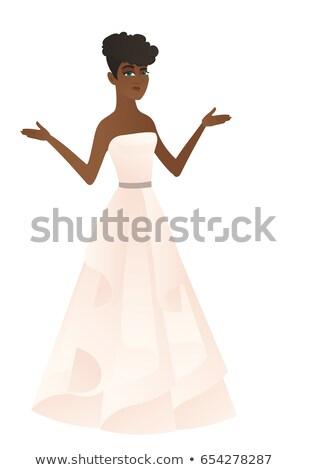 Verward verloofde armen witte jurk schouders Stockfoto © RAStudio