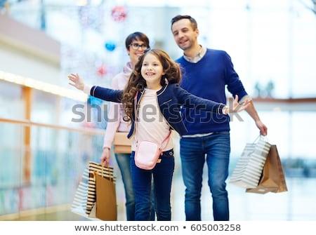 Foto stock: Família · sacos · homem · feliz