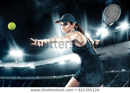 young tennis player on blue background stock photo © master1305