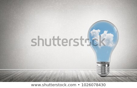 Stock photo: Light Bulb with Clouds Shapes Inside