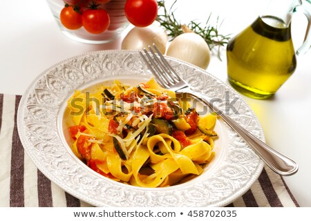 tagliatelle with zucchini and tomato Stock photo © M-studio