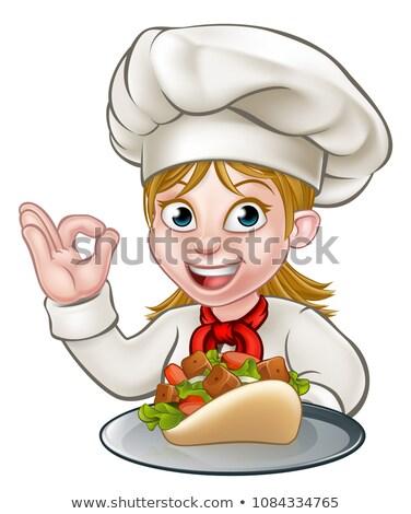 Cartoon Woman Kebab Chef Stock photo © Krisdog
