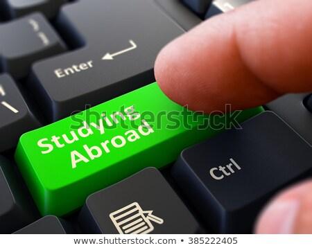 Estudar no exterior verde teclado botão masculino Foto stock © tashatuvango