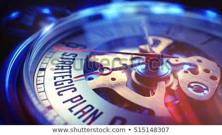 Stockfoto: Doel · ontwikkeling · vintage · horloge · 3d · illustration · business