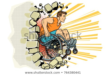 Caucasian male athlete in a wheelchair punches the wall Stock photo © studiostoks