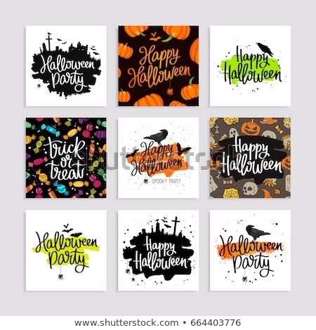 happy halloween postcards designs set stock photo © sonya_illustrations
